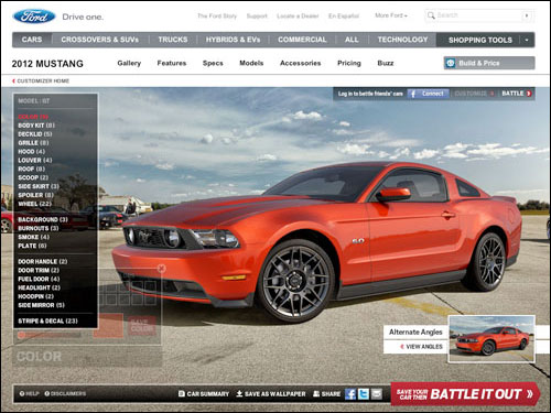 Mustang Customizer Ford Website Options