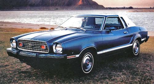 1975 75 Ford Mustang II Ghia Blue White Vinyl Roof
