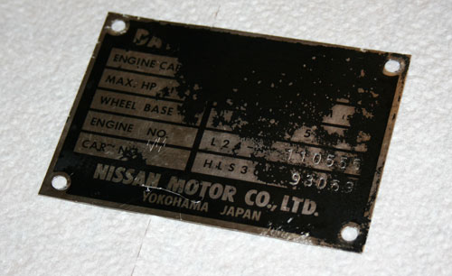 Datsun 240Z ID Plate VIN Block Number Matching