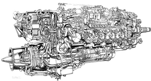 technical spannerhead napier nomad 1 diesel 2 stroke aero engine motor schematic diagram operation drawing
