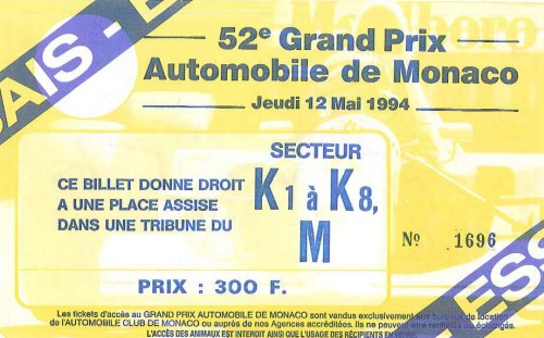 1994 Monaco F1 GP Ticket Billet