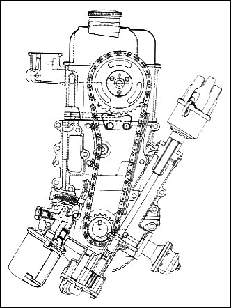 Opel Cam In Head CIH Engine Motor Schematic Diagram Drawing Layout Timing Chain Gear Sprocket