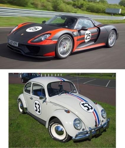 Porsche 918 and Herbie Love Bug VW Beetle
