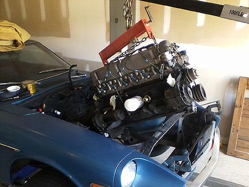 Datsun 240Z restoration engine motor l24 engine removal