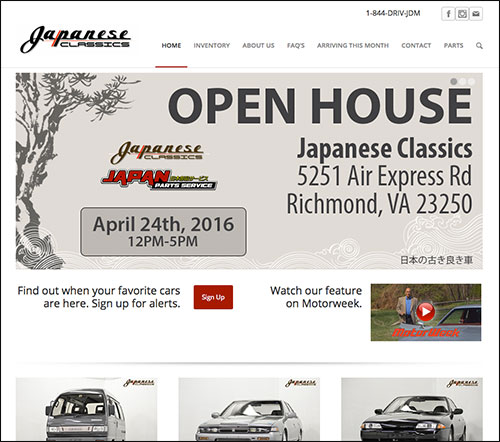 Japanese Classics Richmond VA Website